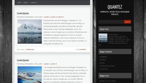 Quantez is a free blogger template adapted from WordPress with 2 columns, right sidebar and posts thumbnails.