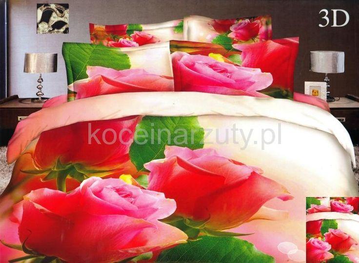 Pościel z bawełny satynowej w kolorze kremowym w róże