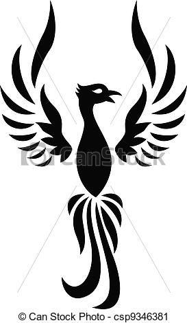 Phoenix, tatuagem, silueta - csp9346381