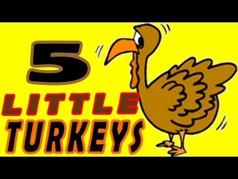 "Five Little Turkeys is from Children's Favorites Autumn Songs & Fingerplays.      Young children enjoy familiar ""to the tune of"" melodies because they are simple, FUN and easy to learn. Besides being a favorite Thanksgiving Day song for kiddo's, this tune is great for introducing math and counting to five."