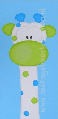 schilderij giraf lime blauw