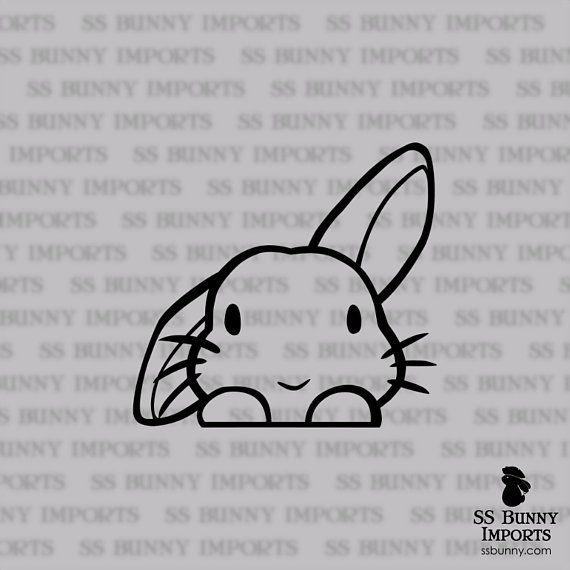 Spähen des niedlichen halben Hasenvinylaufklebers; Kaninchen Laptop Aufkleber / Auto Aufkleber / Telefon Aufkleber, glänzend bla