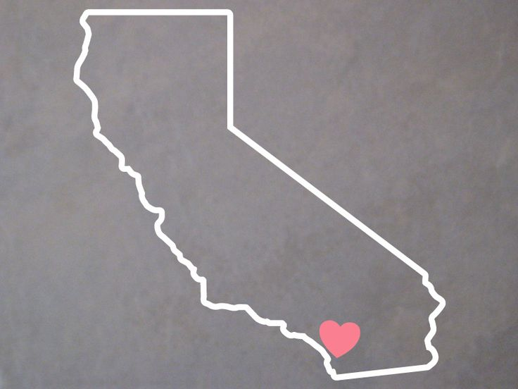 California Outline Decal with Heart - San Diego Sticker