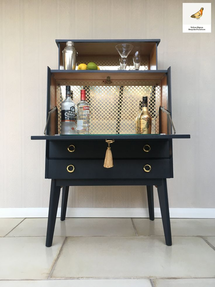 Upcycled Painted Mid Century Drinks Cabinet Farrow and Ball Off Black
