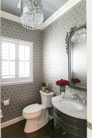 Traditional Powder Room With Hardwood Floors Powder Room