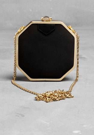 & OTHER STORIES Made from smooth satin and gold metal, this octagonal mini-bag has a gold clasp, satin tab detail, black cotton lining and a weighty gold curb chain. Dimensions: 11 x 11 x 3 cm. Chain: 110 cm.