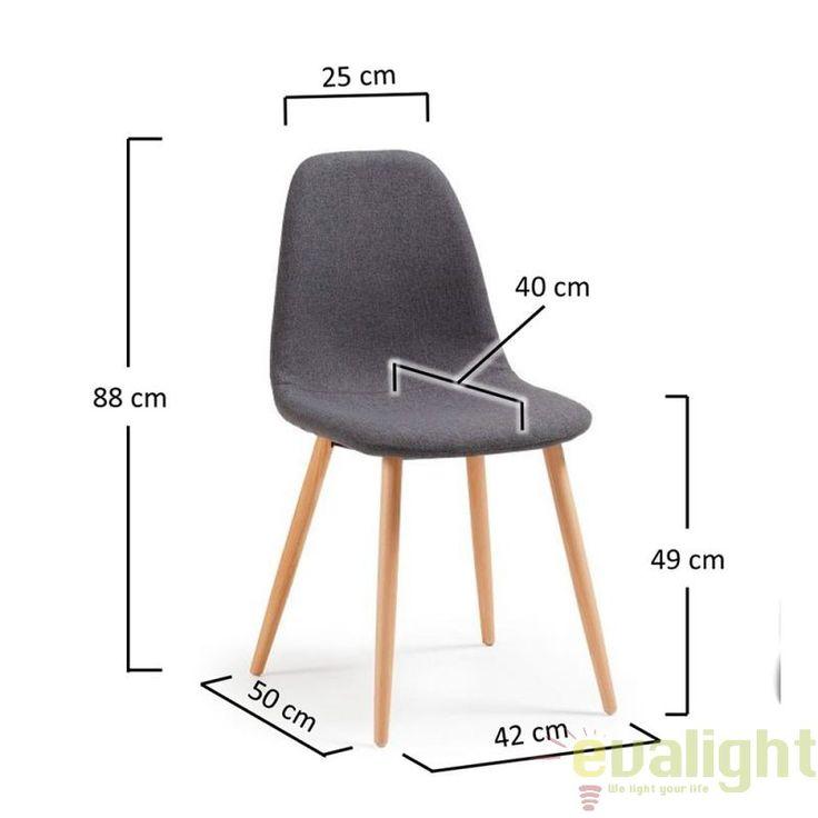 Scaun elegant cu picioare din lemn de fag PAIGE gri C808J03 JG - Corpuri de iluminat, lustre, aplice