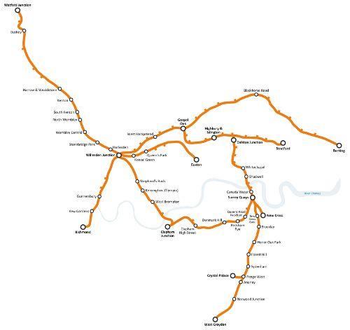 Mapa de Overground Line, metro de Londres