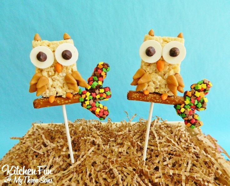 Fall Owl Pops made with pre-made Rice Krispies Treats...easy to make! KitchenFunWithMy3Sons.com