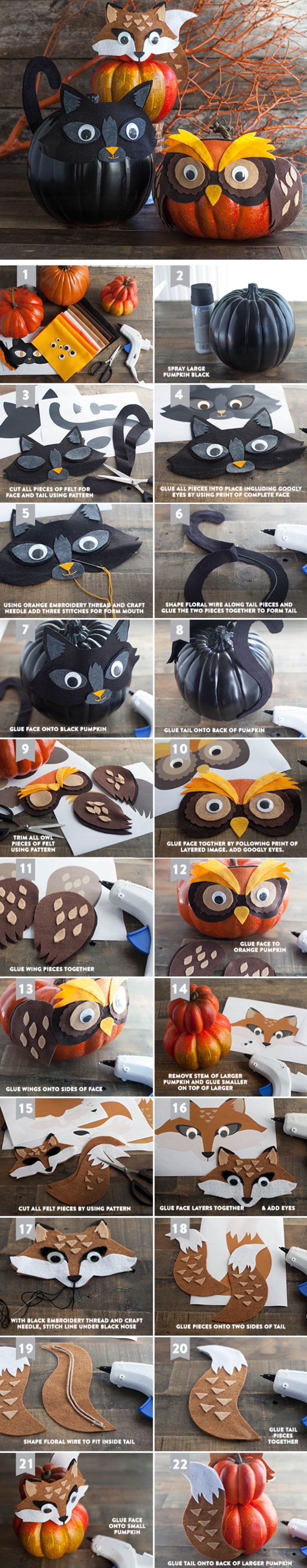 Felt Costumes for Your Halloween Pumpkins   Click Pic for 20 DIY Halloween Decorations for Kids to Make   Cheap and Easy Halloween Decorations on a Budget