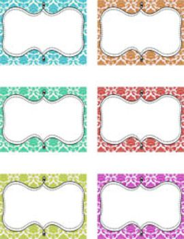 Free Blank decorative tags in fun colors with damask background and a fun swirly frame.