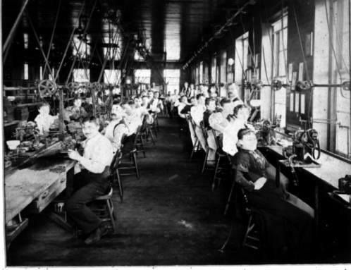 "Workers at Columbus Watch Company around 1900. The Columbus Watch Company was founded by Dietrich Gruen on December 22, 1874 in Columbus, Ohio. Gruen would later become founder of the Gruen Watch Company with his son Frederick. At first, the company finished movements imported from Switzerland, made primarily by Leo Asbey. In 1882, the company attracted a number of new investors, and moved to a newly-built factory on Thurman Street, in the ""German Village"" section of Columbus."
