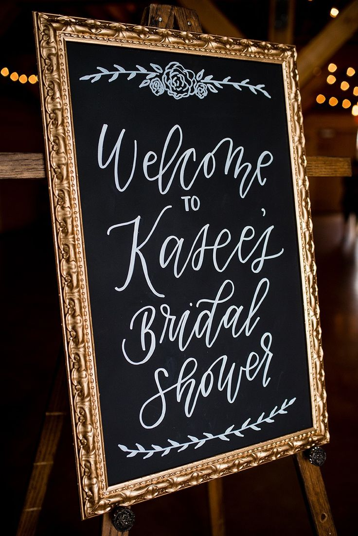 Chalkboard bridal shower welcome sign. A Rustic Barn Bridal Shower in Oklahoma | Ultimate Bridesmaid | Alex Dugan Photography