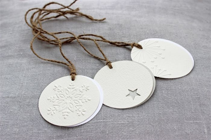 Set of 3 gift tags made from watercolour paper with embossed details on jute string - love!!