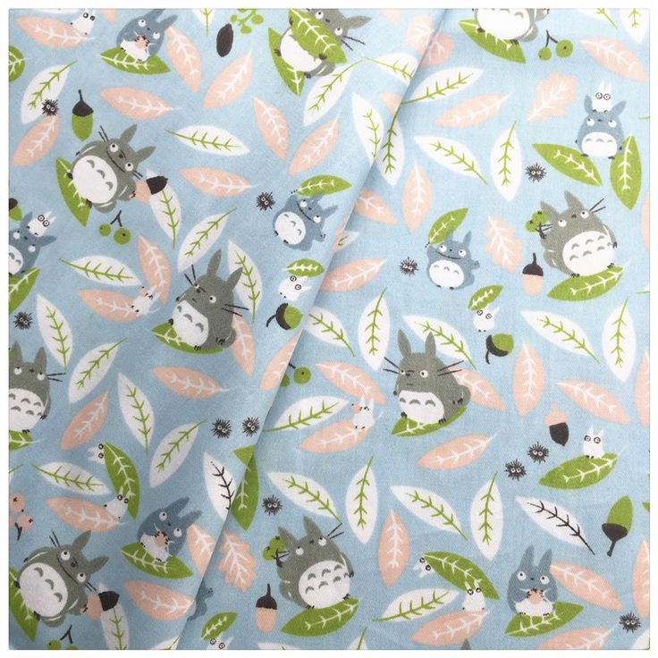Blue Cartoon Totoro Printed Cotton Fabric sewing baby the cloth Quilting kids bedding textile Patchwork diy tecido Tissue