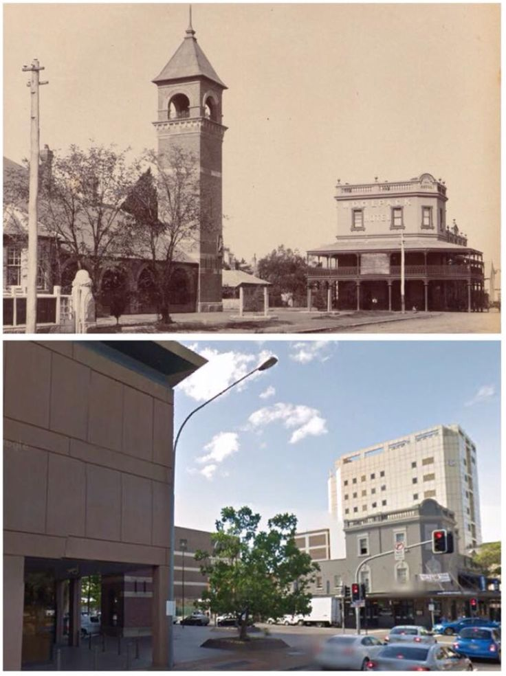Court House and Woolpack Hotel, Parramatta 1898>2014 [1898-State Library NSW>2014-Google Street View. By Curt Flood]