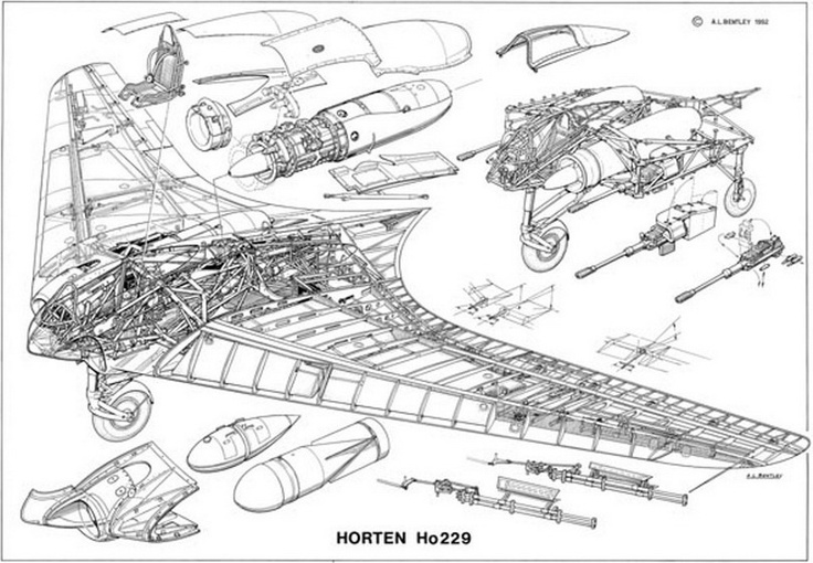 Horten Ho 229 was a German prototype fighter/bomber designed by Reimar and Walter Horten and built by Gothaer Waggonfabrik late in World War II. It was the first pure flying wing powered by a jet engine.