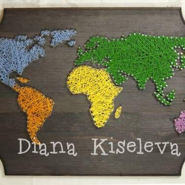 """Панно """"Карта мира"""" ручной работы"""