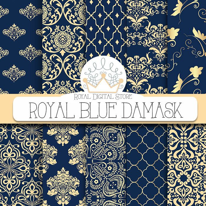 "Damask Digital Paper: ""Royal Blue Damask"" with royal blue damask, dark azure damask, gold , blue damask digital paper #winter #wedding #blue #gold #damask #digitalpaper #scrapbookpaper #planner"