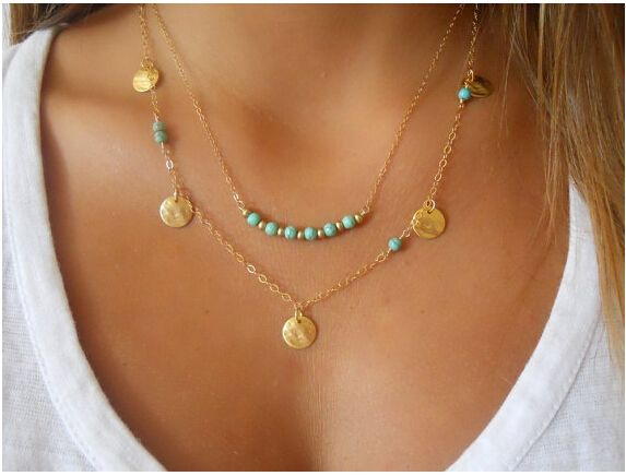 Find More Chain Necklaces Information about TX1209 Simple Silver and gold coin kallaite bead double chain necklace for women free shipping,High Quality necklace collar,China necklace ivory Suppliers, Cheap necklace fastener from good  jewelry on Aliexpress.com