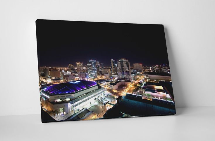 Phoenix Night Downtown Skyline Gallery Wrapped Canvas Wall Art