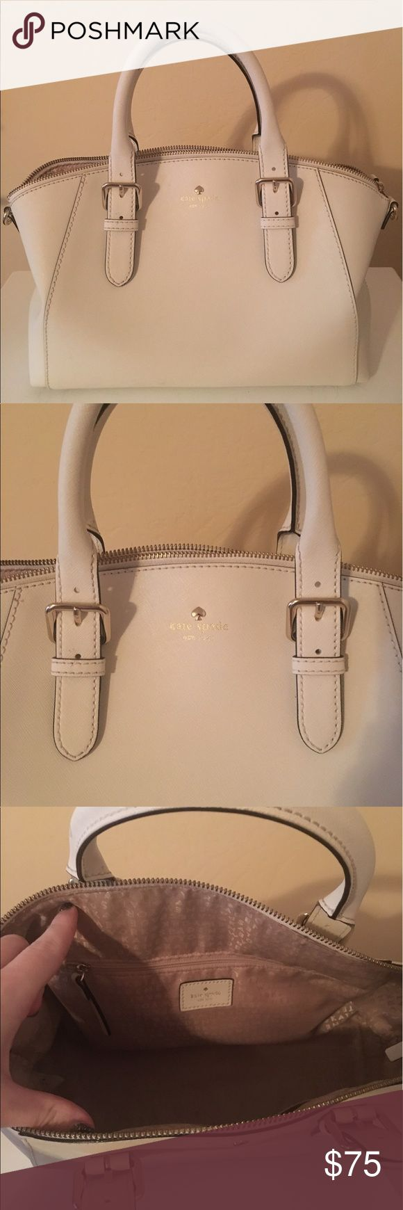 Kate Spade Purse Beautiful light cream purse, in great condition. Except one small spot on very bottom of purse. kate spade Bags Satchels