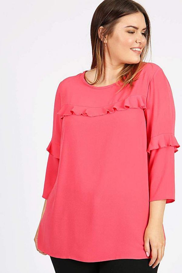 997ab4376a342 Lovedrobe GB Coral Frill Detail Blouse 1 600x900