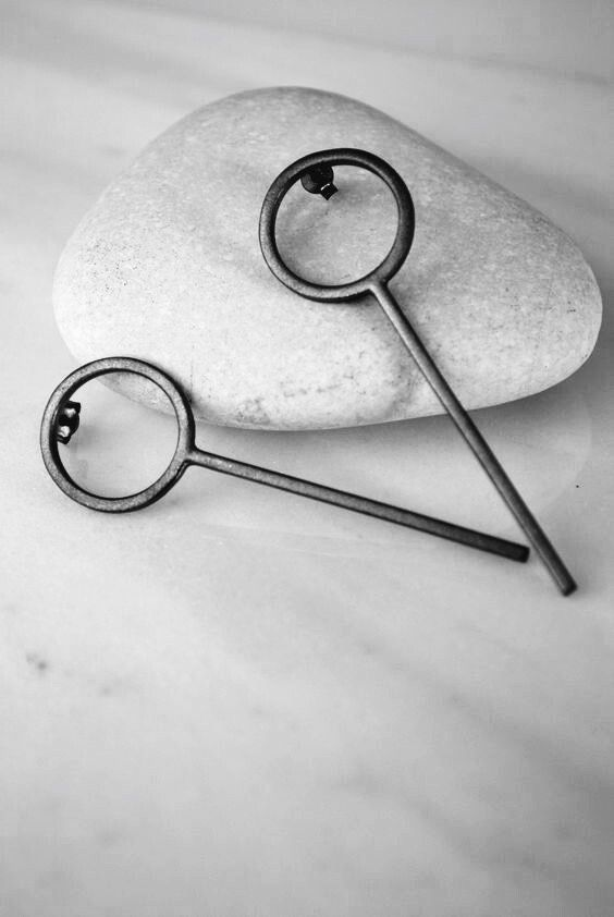 Black platinum plated bar earrings by Auralism on Etsy