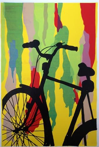 Abstract backgrounds with silhouette painting. Use printed out photographs and transfer paper