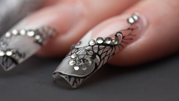 ногти, окрашенные, дизайн, пальцы, стразы на ногтях, наращенные ногти