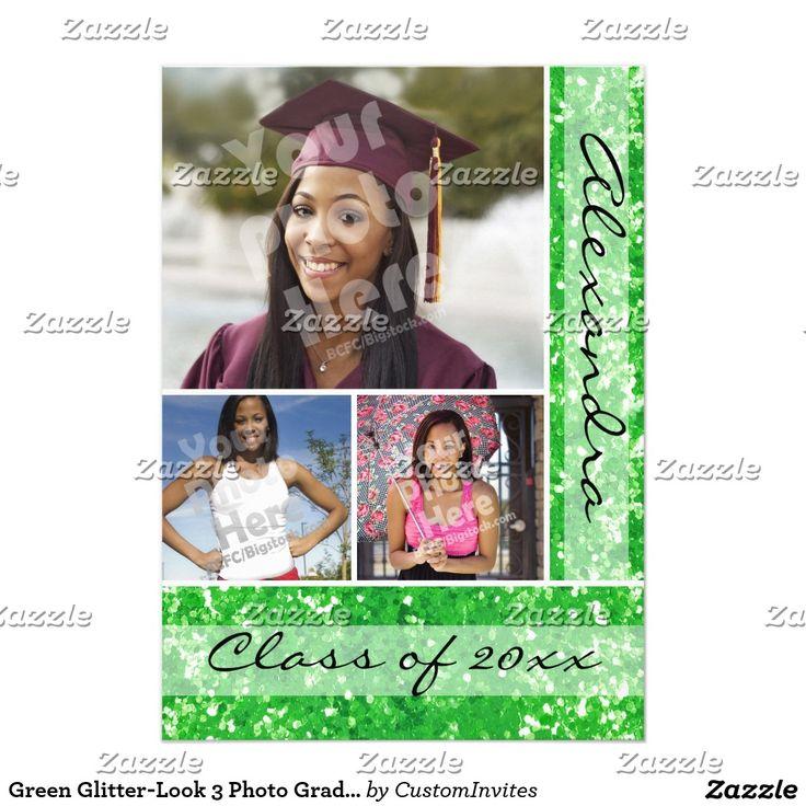Green Faux Glitter 3 Photo Graduation Announcement and Invitation Card