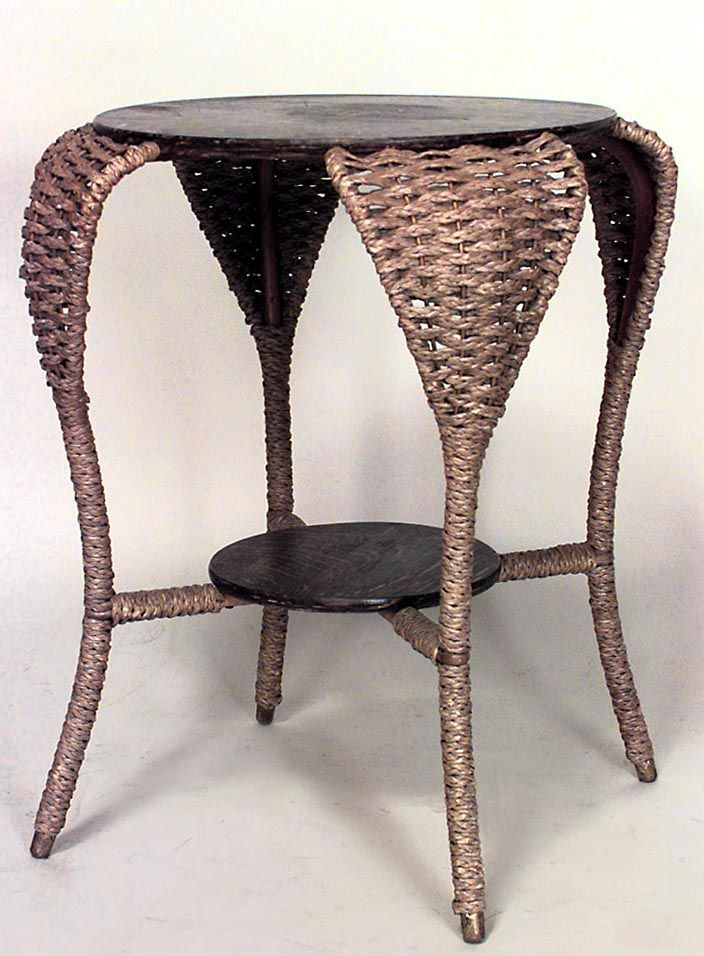 Wicker Victorian Table End Table Seagrass