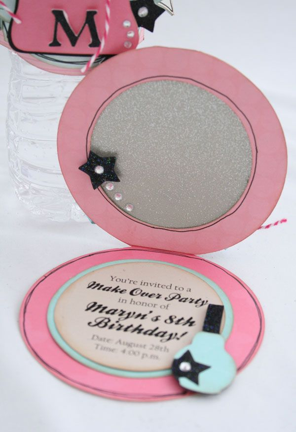 Compact Invitations using the Make-Up Party Cricut Cartridge; so cute!