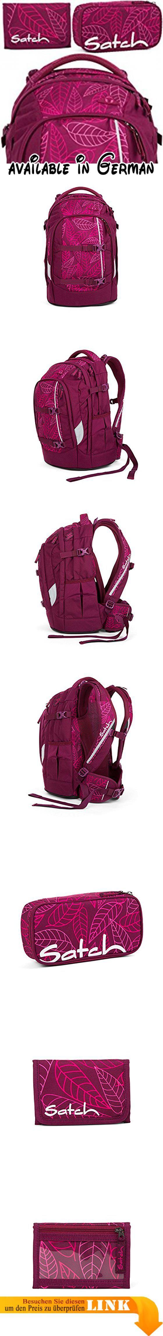 """satch pack Puple Leaves 3er Set Rucksack, Schlamperbox & Geldbeutel. Das Set enthält:. 1x Schulrucksack """"pack"""". 1x Schlamperbox. 1x Geldbeutel #Koffer, Rucksäcke & Taschen #LUGGAGE"""