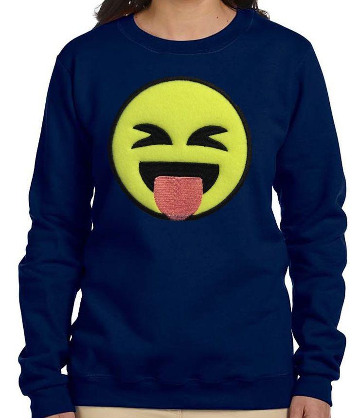 Navy Women Stuck Out Tongue Face Emoji Sweatshirt