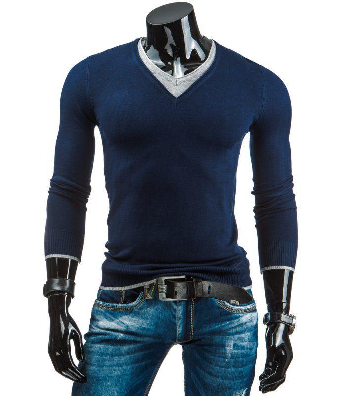 Tmavomodrá pánsky sveter, ktorý sa oblieka cez hlavu. Výstrih typu V-neck Vyrobené z mäkkej na dotyk príjemnej tkaniny. Výstrih, dolná časť a rukávy sú zakončené manžetou. Módny dizajn a jedinečný vzhľad. Výborne sa prispôsobí každej postave.