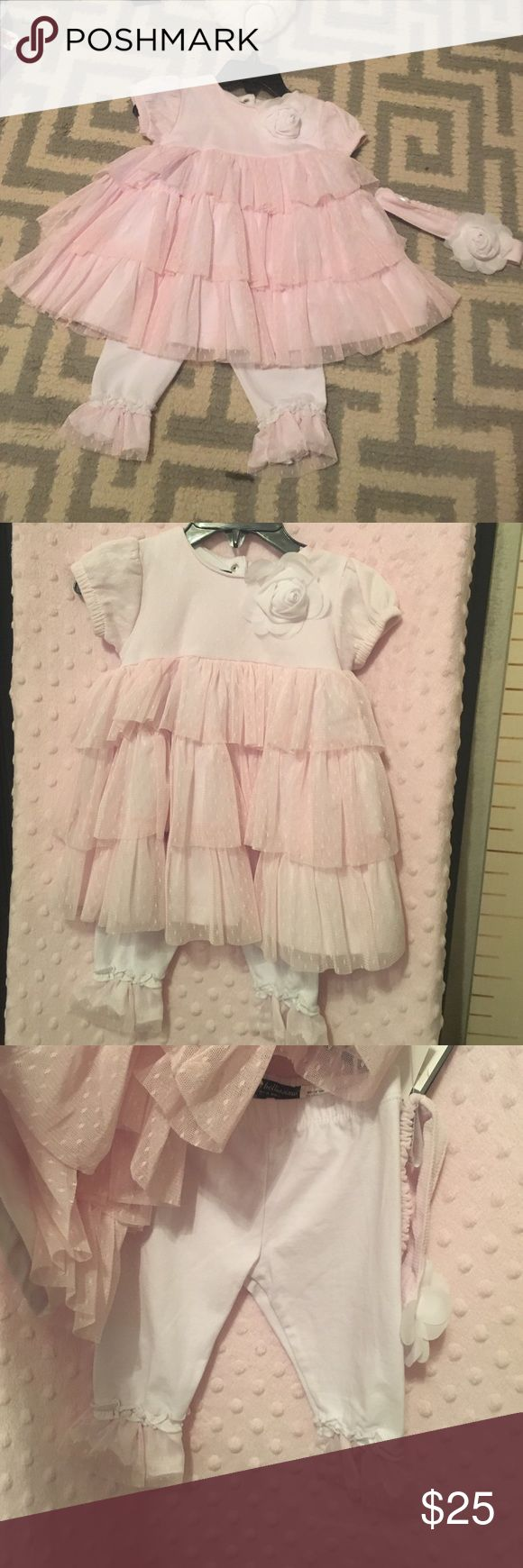 LAST CHANCE 💥Super frilly light pink matching Ruffles galore! Super cute! Matching set with head band NWT. LAST CHANCE💥 donating at the end of the week. Wendy Bellissimo Matching Sets