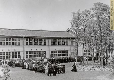 Meiji Gakuen (also known as École Notre-Dame-de-Bon-Secours), institution founded in 1949, Tobata, Japan, [between 1951 and 1959].