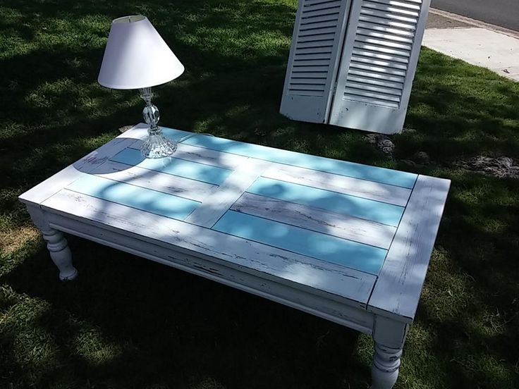 Ocean Themed Coffee Table Painted In White And Light Blue