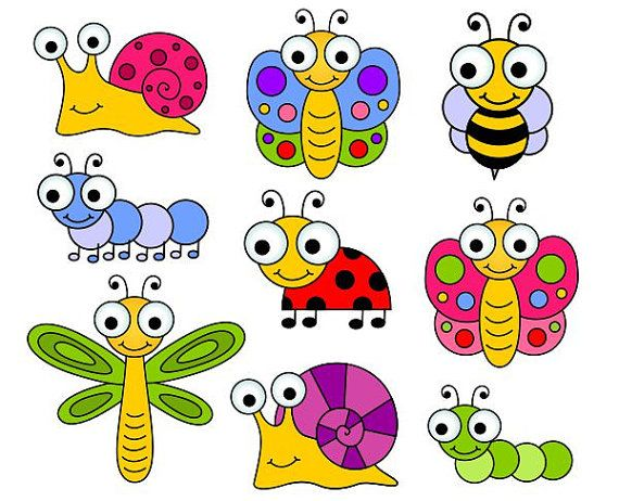 Cute Bugs Clip Art, Insects Clipart, Ladybug, Snail, Dragonfly, Bee – YDC124