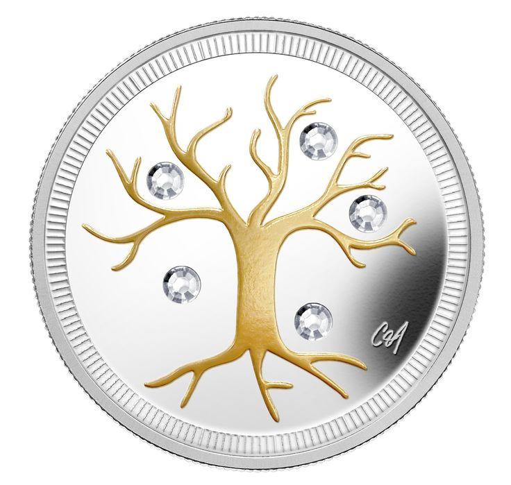 For Beth: $3 pure silver coin with selective gold plating and embedded Swarovski Crystals blurs the line between coins and works of art created in fine metals by talented artists and jewellery designers. Designed by Quebec actor, singer and jewellery designer Caroline Néron, featuring the gold silhouette of a leafless tree in winter, interspersed with crystals to convey the sparkling beauty of snow and ice.  • Certificate: Serialized • Artist: Caroline Néron (reverse), Susanna Blunt…