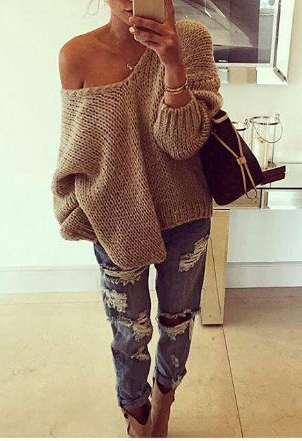 #winter #style oversized beige sweater ripped boyfriend outfit .