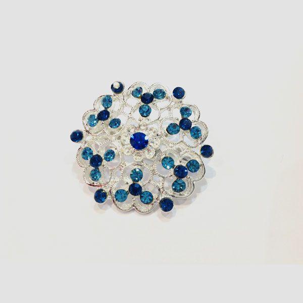 Magnifique broche en métal argenté avec des pierres naturelles, vente à la bijouterie Toulouse Laoula