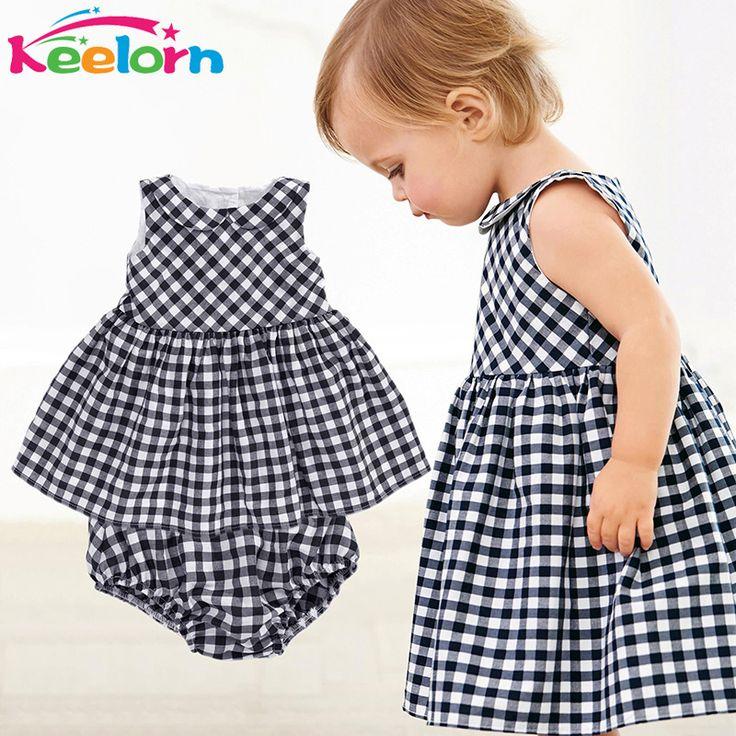 Keelorn Baby Girls Dress 2017 Casual Plaid Sleeveless Turn-down Collar Princess Dress + Plaid shorts 2pcs Kids Clothing Sets