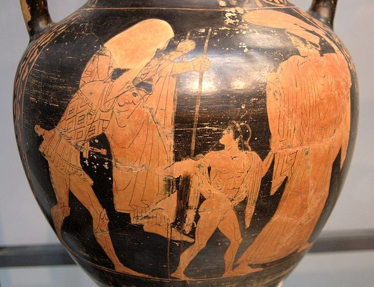 Aeneas carrying Anchises, with Ascanius and his wife, red-figure amphora from a Greek workshop in Etruria, ca. 470 BC
