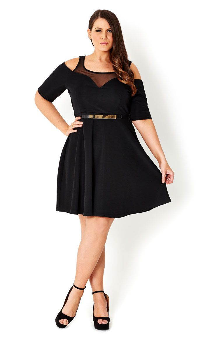 CITY CHIC - COLD SHOULDER SWING DRESS