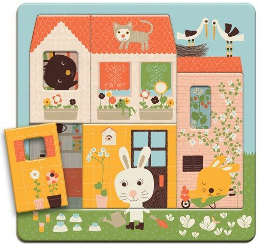 This beautiful lift-out Wooden Rabbit Cottage 3 Layer Puzzle by Djeco. Different and more challenging that other lift out puzzles in that it has 3-layers to piece together. Remove the outer walls of Rabbits House and peek in to discover what the rabbit family are doing inside. Lift the next layer and you will discover the little bunnies on their beds! It comes in a super sturdy presentation box that is great for storage and perfect for gift giving.