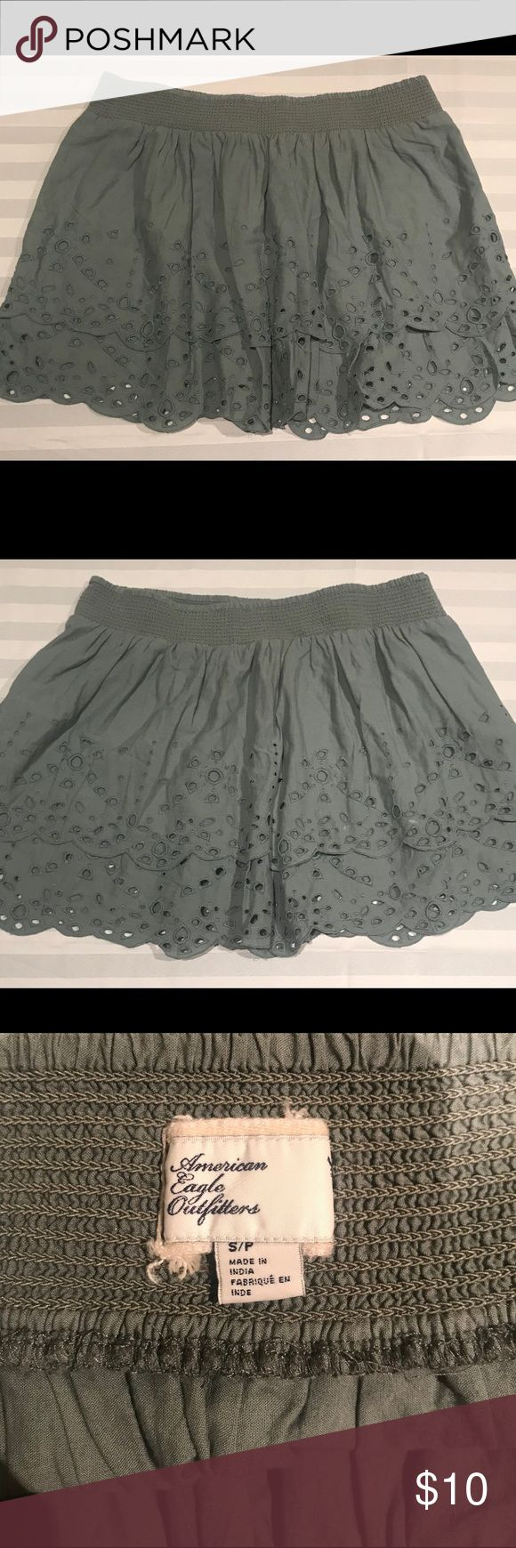 American Eagle Outfitters Green Skirt Cute green AEO skirt great for the spring and summer  Measurements   Size Small  Waist 14 inches  Length 14 1/2 inches  Bottom opening flat 28 inches   A45B American Eagle Outfitters Skirts