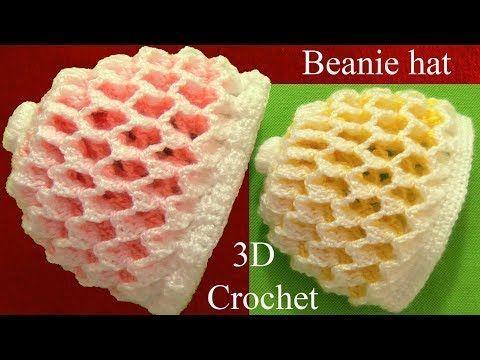 Gorro a Crochet 3D en punto panal o nido de abeja de dos colores reversibles tejidos tallermanualper - YouTube