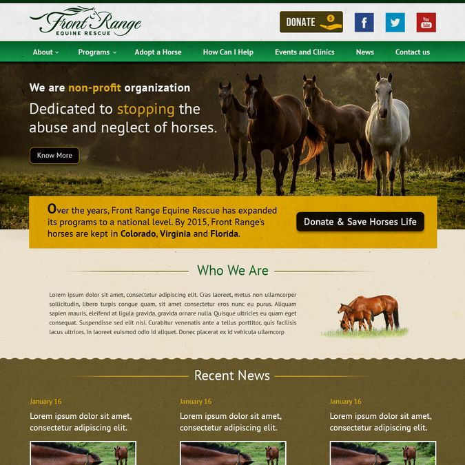 Front Range Equine Rescue - Landing Page Design by UX-Master